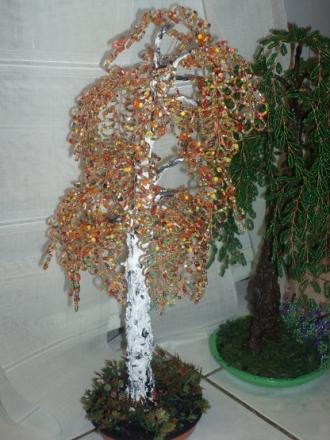 Деревья из бисера - Осенняя береза.